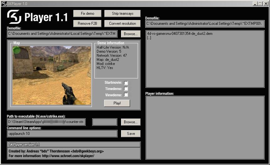 SK Player 1.1 — удобный просмотр демок